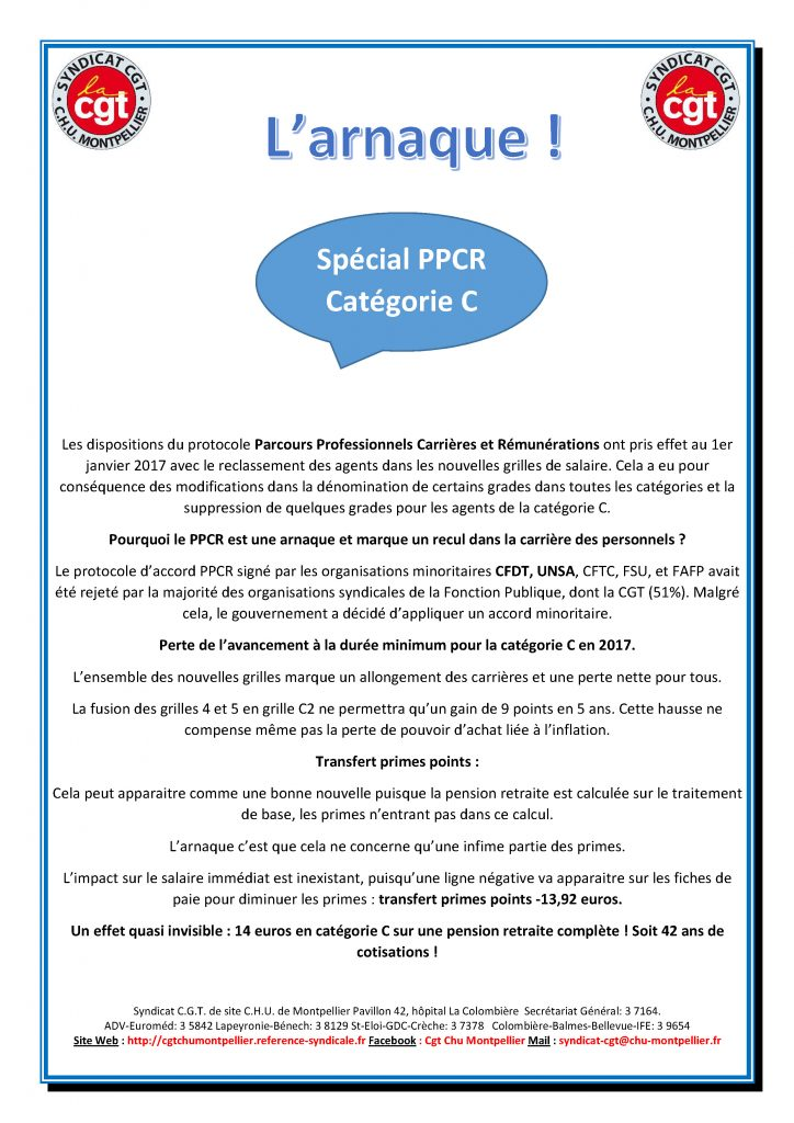 Ppcr L Arnaque Grilles Indiciaires Categories C Cgt Chu Montpellier
